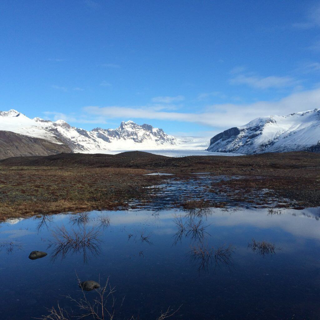 Snowy Mountain peaks with a view of Solheimajokull glacier from the ring road, Iceland.