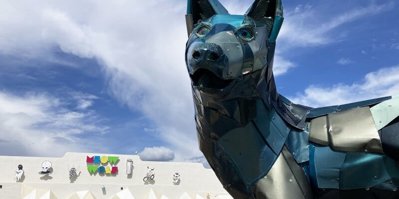 Meow Wolf exterior with kids