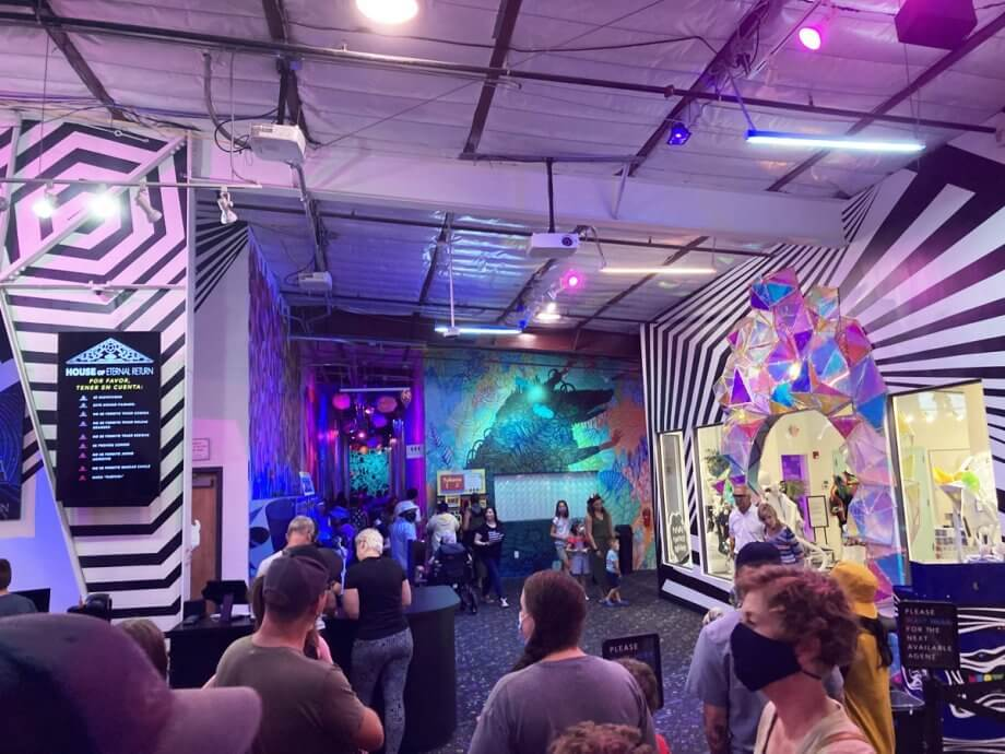 Meow Wolf Santa Fe Ticketing  Area before you enter the exhibition