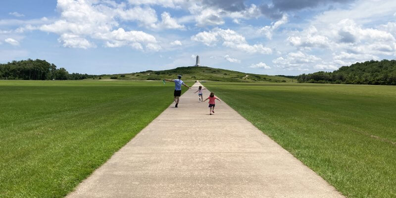 Running at the Wright Memorial with Kids