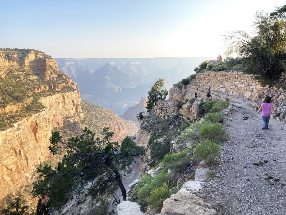 The bright angel trail is tough for families at the grand canyon