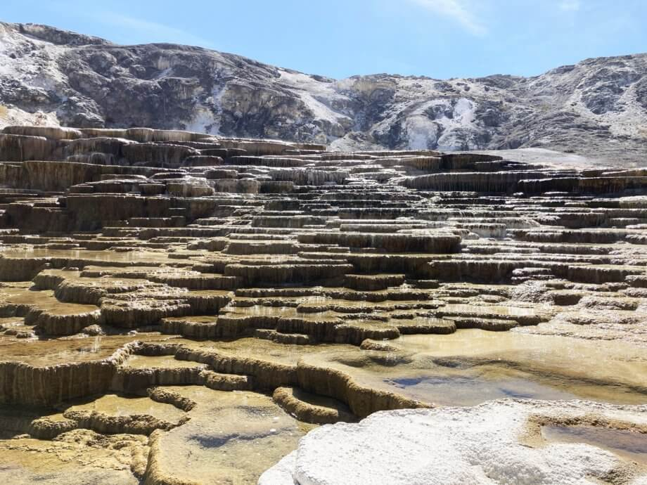 Mound Spring Terraces in Mammoth Hot Springs, Yellowstone with Kisd