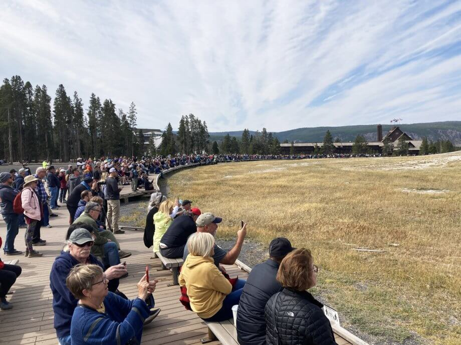 Crowds waiting for Old Faithful in Yellowstone National Park