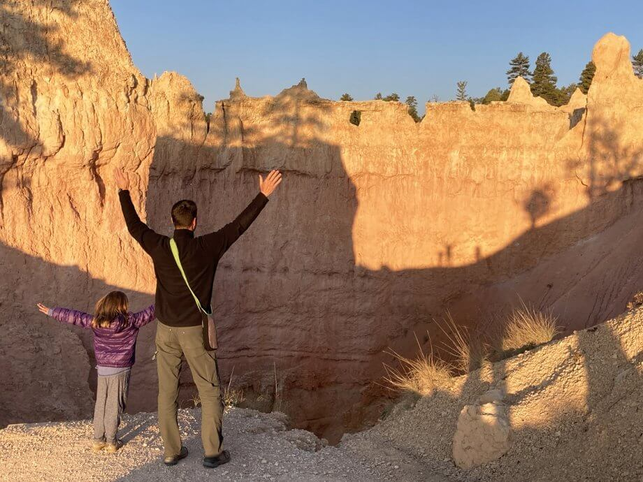 Tall Shadows on the Queen's Garden Trail in Bryce Canyon with Kids
