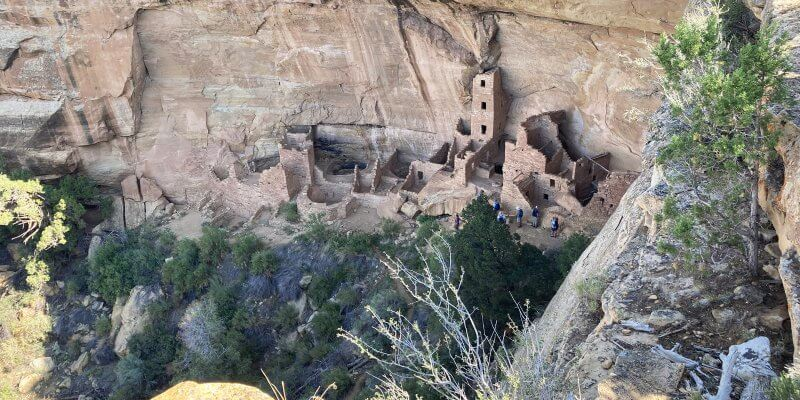 Square Tower House in Mesa Verde with kids