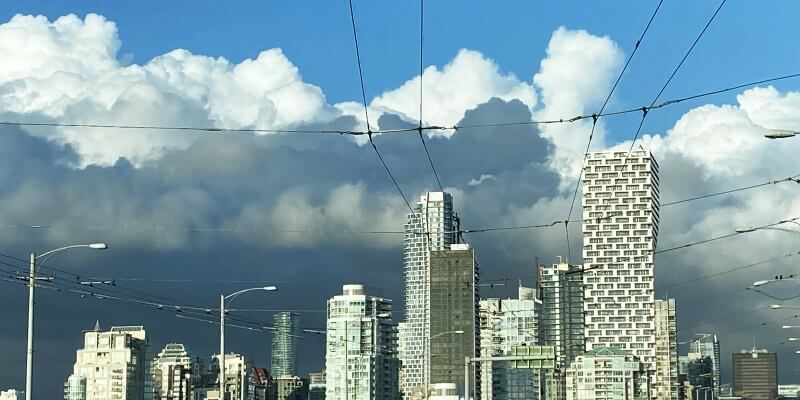 Skyline driving into Vancouver over Canadian Border